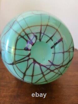 Rare 1925 Fenton Hanging Hearts 9 Irridescent Antique Green Off Hand Line Vase