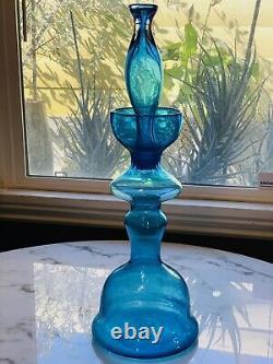 Rare 1960-1961 WAYNE HUSTED BLENKO 22 H Turquoise Chess Decanter #5929-S