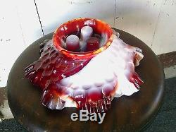 Rare! Absolutely Stunning! Fenton Ruby Slag Glass Epergne With 3Horns