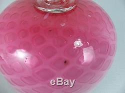Rare Antique Phoenix Cased Cranberry Ruby Diamond Quilted MOP Glass Cheese Dish