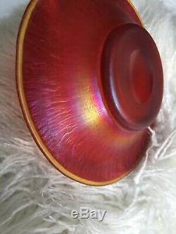 Rare Antique Steuben Red Aurene Iridescent Art Glass Plate Signed D 7 1/2
