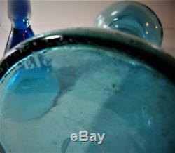 Rare Blenko Wayne Husted Mid-Century Open Cone Decanter Persian Blue