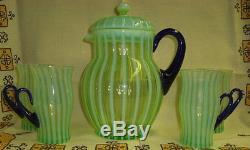 Rare Fenton Art Glass Lemonade Pitcher & 4 Mugs Stunning Yellow & Blue