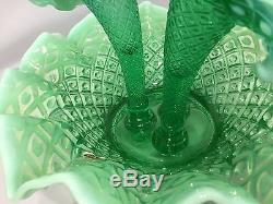 Rare Fenton Emerald Green Opalescent Hobnail Glass 3 Horn Epergne Mid-Century