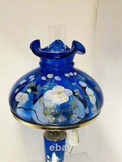 Rare Fenton Lamp Cobalt Blue Glass Hand Painted Flowers Signed Artist S. Smith