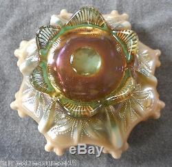 Rare Fenton/levay Aqua Opalescent Carnival Glass Cactus Pattern Ruffled Bowl