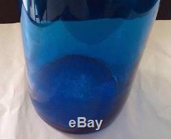 Rare Large Blenko Cobalt Blue Hand Blown Glass Big Floor Vase/ Top 34 TALL Tag