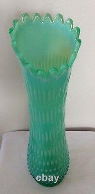 Rare Large Vintage Fenton Art Glass Green Opalescent Hobnail Vase