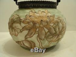 Rare Mt. Washington Crown Milano Art Glass Cracker Jar / Biscuit Barrel