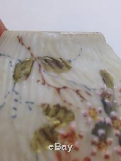 Rare Mt Washington Glass Fig Bark Pattern Painted Floral Sugar Shaker NR