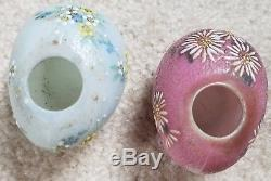 Rare Mt Washington Glass Works Chick On Egg S&p Shakers Hand Paint Orig Stickers