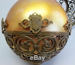 Rare OSCAR BACH Gilt Bronze & STEUBEN AURENE Art Deco Glass Fixture c. 1920
