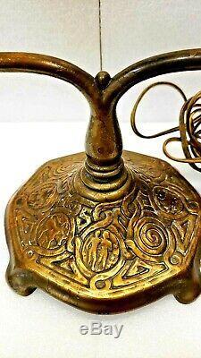 Rare Original Tiffany Studios Desk Harp Lamp Base Zodiac Pattern
