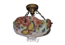 Rare PAIRPOINT PUFFY Glass Hanging Lamp with BUTTERFLIES and ROSES