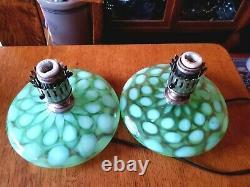Rare Pair Fenton Coin Spot/dot Green Opalescent G-70 Series Pancake Lamps 1930's