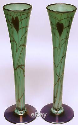 Rare Pair of Antique Green Ca. 1925 Fenton Off Hand Iridescent Vases Leaf & Vine