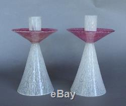 Rare Pair of Carder Steuben Rose & White Cluthra Art Deco Candlesticks #6885