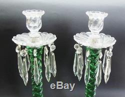 Rare Pair of Fostoria Queen Anne Emerald Green Swirl Candle Holders c. 1925