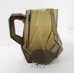 Rare Ruba Rombic smoky topaz Consolidated glass water pitcher No Reserve