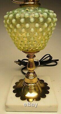 Rare VTG Fenton Hobnail Student Lamp #3707TO Topaz Opalescent Vaseline 20 tall