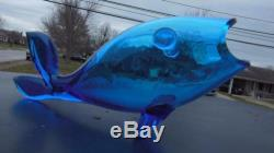 Rare Vintage Blenko Art Glass Fish Teal Blue 12 MID Century Hand Blown Vase