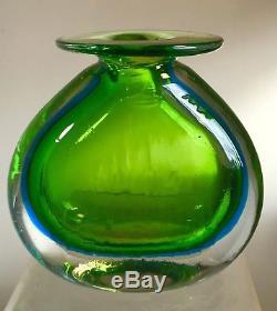 Rare Vintage Blenko Glass Sommerso Vase Signed Joel Myers Rare