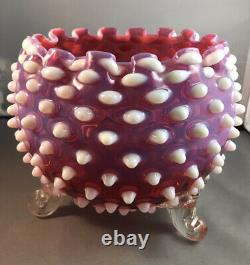 Rare Vintage Fenton 3 Footed Hobnail Crimped Pink Opalescent Rose Bowl