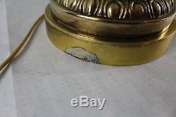 Rare Vintage Fenton Burmese Cabbage Rose Brass Pillar Banquet Electric Lamp