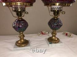 Rare Vintage Fenton Cranberry Carnival Glass Lamp
