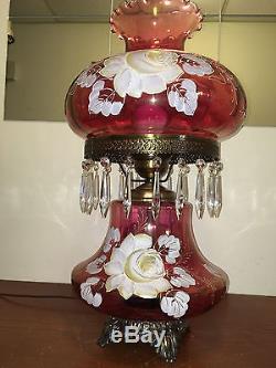 Rare Vintage Fenton Cranberry Gwtw Parlor Lamp Handpainted & Signed B. Hart-mint