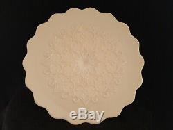 Rare Vintage Fenton Glass Spanish Lace Pastel PINK Cake Plate Stand Pedestal