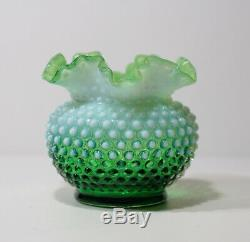 Rare Vintage Fenton Green Opalescent Hobnail Vase Ruffled Top