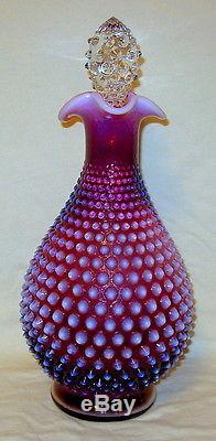 Rare Vintage Fenton Plum Opalescent Hobnail Decanter