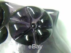 Rare mid century modern Blown Art Glass 1958 Wayne Husted 8.75 PuRpLe Owl Vase