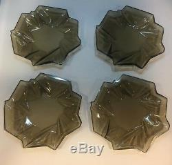 Reuben Haley Art Deco Consolidated Ruba Rombic Smokey Topaz Desert Plate Set 4