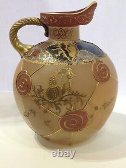 Royal Flemish Victorian Art Glass Pitcher. Mount Washington. Antique