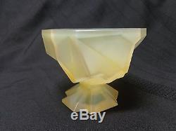 Ruba Rombic Phoenix Consolidated Glass Company Yellow Sherbet Dish