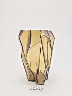 Ruba Rombic Vase 6 1/2 Consolidated Lamp & Glass Company Smoky Topaz