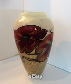 Satava Art Glass Vase Red Rock Rose On Gold Web