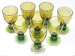 Set(8)antique Signed Steuben Threaded Topazapplied Blue Art Glass Water Goblets