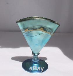 STEUBEN BLUE AURENE DECORATED FAN VASE 6297 VINTAGE ART GLASS 1930's CARDER