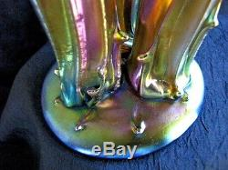 STEUBEN GLASS 3 PRONG STUMP VASE CLASSIC AURENE With BLUE, PURPLE, GOLD HIGHLIGHTS