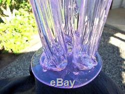 Steuben Glass (3) Prong Stump Vase Wisteria Lite Radiant Lavender Xrare Color