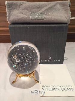 STEUBEN GLASS RARE #8395 GALAXY LTD. EDITION PAPERWEIGHT, NASA, WithBOX BAG