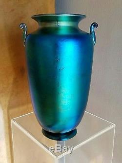 Steuben Huge! Blue Aurene Antique Art Glass Urn Vase #6630