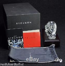 Steuben Regal Lion Crystal Statue Glass Figure Signed