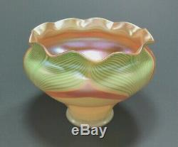 STEUBEN or QUEZAL Iridescent Pulled Feather Art Glass Shade ca. Early 1900's