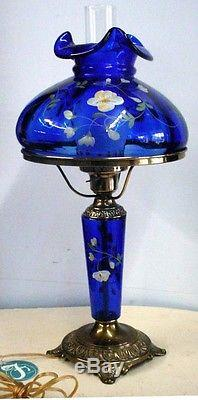 STUNNING FENTON COLBALT BLUE H/P FLORAL TABLE LAMP ARTIST SGN. S. SMITH N/R
