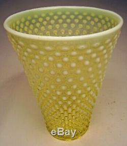 Scarce Vintage Fenton Hobnail 9 Tall Flip Vase Topaz Opalescent Vaseline 1941-4