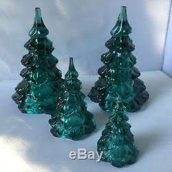 Set 4 Fenton Glass Emerald Green Christmas Trees